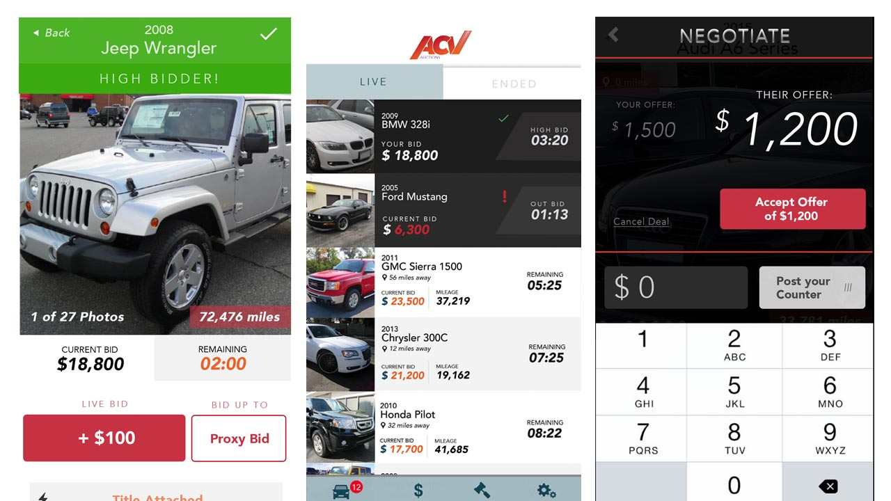 acv auctions app screens